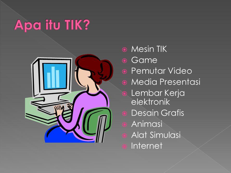 MMesin TIK GGame PPemutar Video MMedia Presentasi LLembar Kerja elektronik DDesain Grafis AAnimasi AAlat Simulasi IInternet