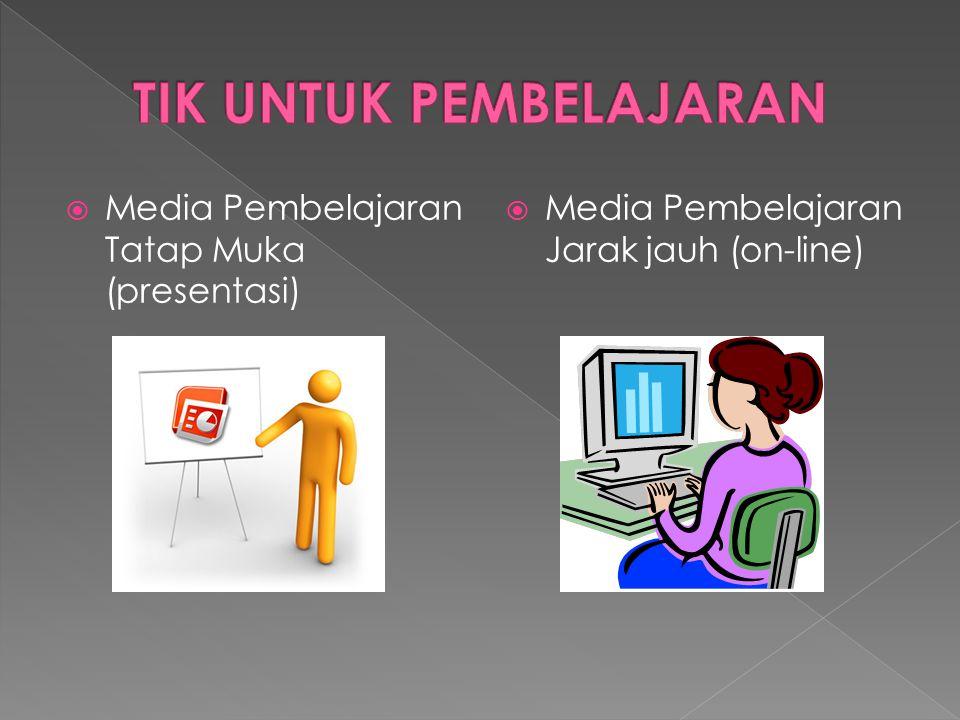  Media Pembelajaran Tatap Muka (presentasi)  Media Pembelajaran Jarak jauh (on-line)