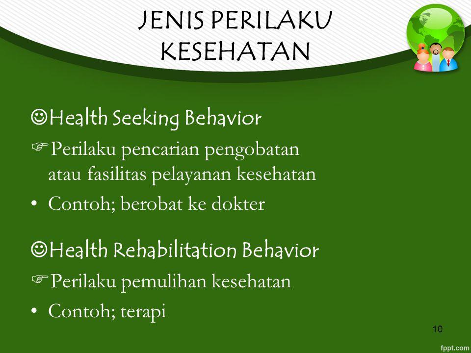 10 JENIS PERILAKU KESEHATAN Health Seeking Behavior  Perilaku pencarian pengobatan atau fasilitas pelayanan kesehatan Contoh; berobat ke dokter Healt
