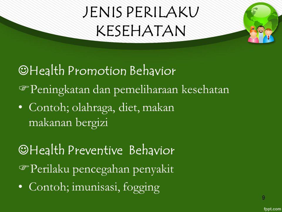9 JENIS PERILAKU KESEHATAN Health Promotion Behavior  Peningkatan dan pemeliharaan kesehatan Contoh; olahraga, diet, makan makanan bergizi Health Pre