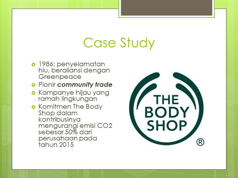 Case Study  1986: penyelamatan hiu, beraliansi dengan Greenpeace  Pionir community trade  Kampanye hijau yang ramah lingkungan  Komitmen The Body Shop dalam kontribusinya mengurangi emisi CO2 sebesar 50% dari perusahaan pada tahun 2015