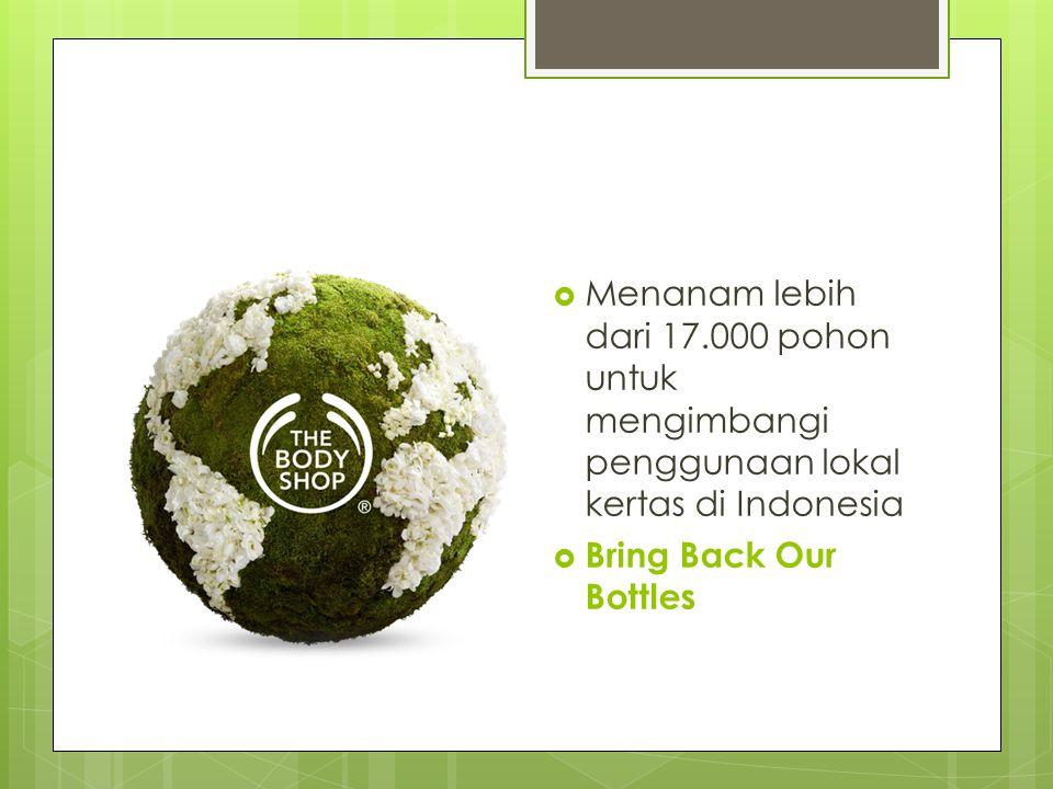  Menanam lebih dari 17.000 pohon untuk mengimbangi penggunaan lokal kertas di Indonesia  Bring Back Our Bottles