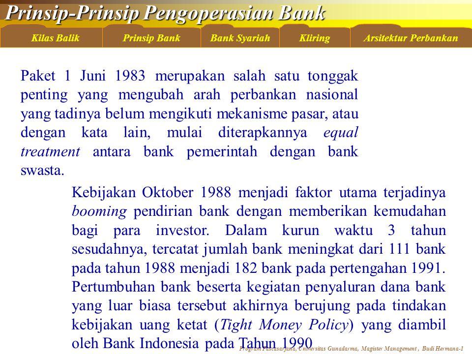 Prinsip-Prinsip Pengoperasian Bank Program Pascasarjana, Universitas Gunadarma, Magister Management, Budi Hermana-22 Kilas BalikBank SyariahKliringArsitektur PerbankanPrinsip Bank Sertifikat IMAInvestasi Mudharabah Antarbank Rumus perhitungan besarnya imbalan Sertifikat IMA: X = P x R x t/360 x k Keterangan: X= Besarnya imbalan P= Nilai nominal investasi R= Tingkat imbalan deposito investasi mudharabah (sebelum didistribusikan) T= Jangka waktu investasi K= Nisbah bagi hasil atau X= P x t/360 x tingkat realisasi imbalan Sertifikat IMA