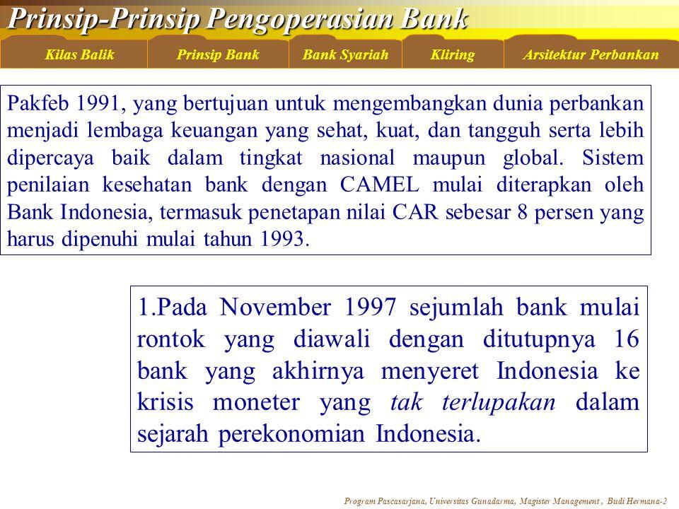 Prinsip-Prinsip Pengoperasian Bank Program Pascasarjana, Universitas Gunadarma, Magister Management, Budi Hermana-3 Kilas BalikBank SyariahKliringArsitektur PerbankanPrinsip Bank Pada tahun 1998 dibentuk BPPN sebagai lembaga yang berusaha untuk menyelamatkan wajah perbankan Indonesia.