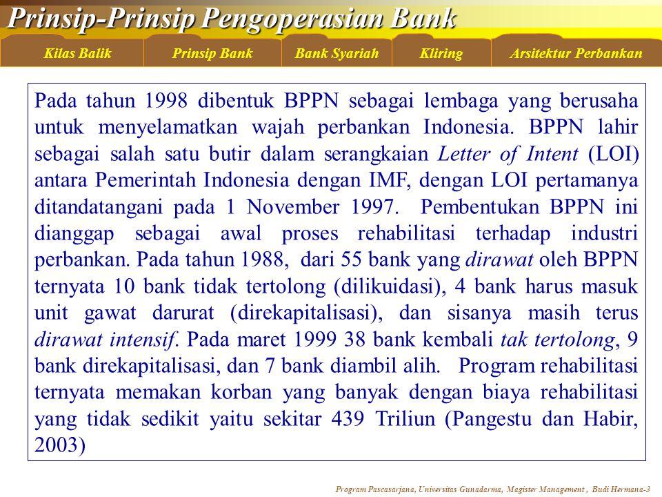 Prinsip-Prinsip Pengoperasian Bank Program Pascasarjana, Universitas Gunadarma, Magister Management, Budi Hermana-4 Kilas BalikBank SyariahKliringArsitektur PerbankanPrinsip Bank