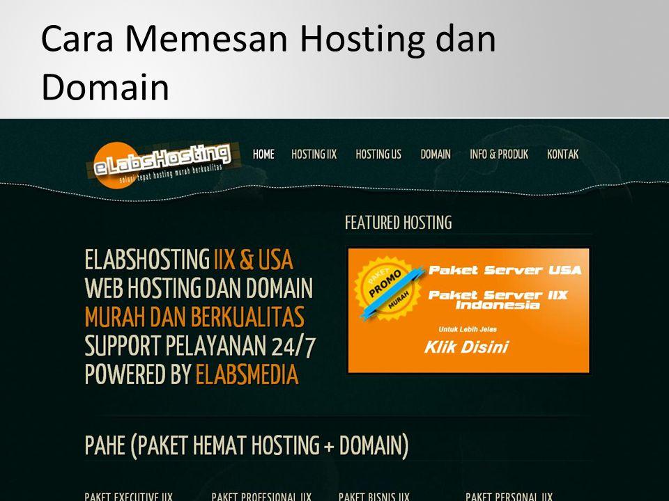 Cara Memesan Hosting dan Domain