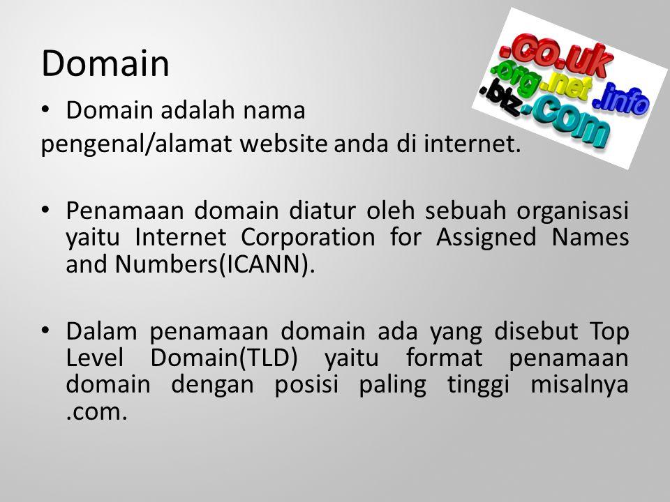 Domain Domain adalah nama pengenal/alamat website anda di internet.