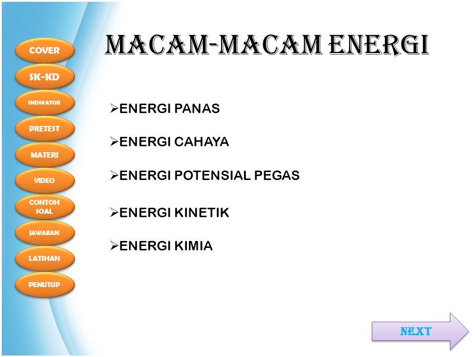 COVER SK-KD MATERI INDIKATOR PRETEST JAWABAN CONTOH SOAL CONTOH SOAL LATIHAN PENUTUP VIDEO MACAM-MACAM ENERGI NEXT  ENERGI PANAS  ENERGI CAHAYA  ENERGI KINETIK  ENERGI POTENSIAL PEGAS  ENERGI KIMIA