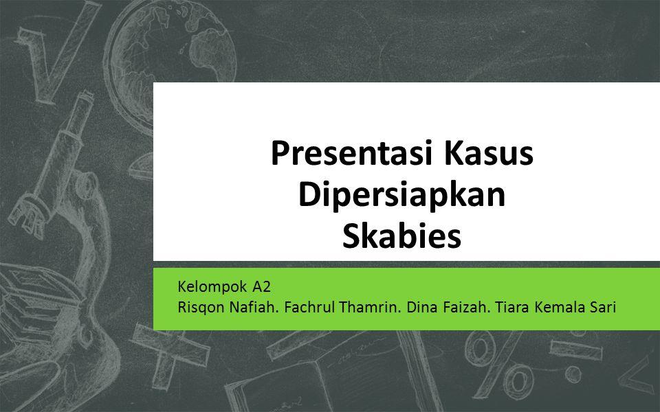 Presentasi Kasus Dipersiapkan Skabies Kelompok A2 Risqon Nafiah. Fachrul Thamrin. Dina Faizah. Tiara Kemala Sari