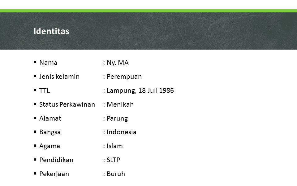 Identitas  Nama : Ny. MA  Jenis kelamin: Perempuan  TTL: Lampung, 18 Juli 1986  Status Perkawinan : Menikah  Alamat : Parung  Bangsa : Indonesia