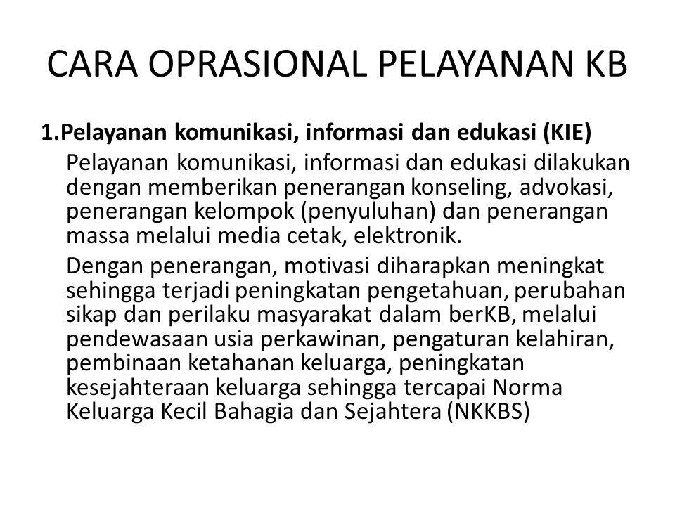 Lanjutan…… 2.Pelayanan kontrasepsi dan pengayoman peserta KB Pengayoman, melalui program ASKABI (Asuransi Keluarga Berencana Indonesia), tujuan agar merasa aman dan terlindung apabila terjadi komplikasi dan kegagalan.