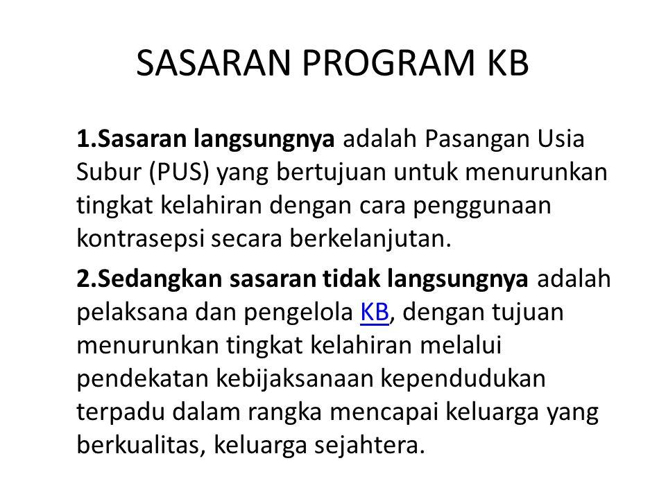 RUANG LINGKUP PROGRAM KB 1.Komunikasi Informasi dan Edukasi (KIE) 2.