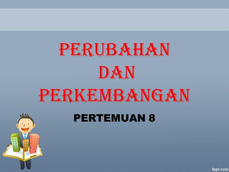 Perlawanan Pada Perubahan 1.Kepentingan Pribadi 2.Kurangnya Pengertian dan Kepercayaan 3.Ketidakpastian 4.Perbedaan Penilaian dan Tujuan