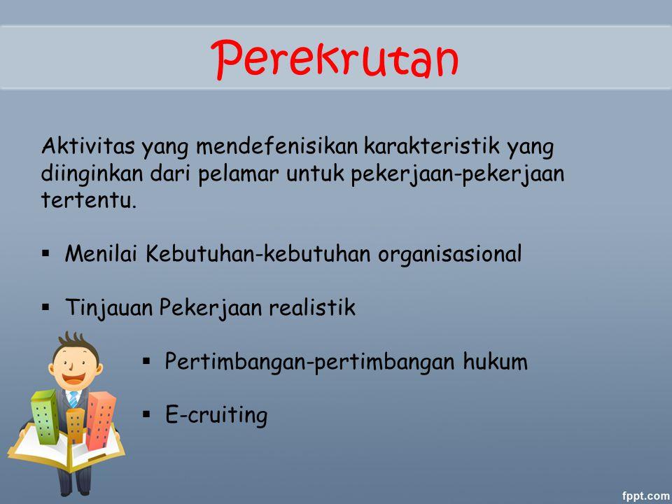 Perekrutan Aktivitas yang mendefenisikan karakteristik yang diinginkan dari pelamar untuk pekerjaan-pekerjaan tertentu.  Menilai Kebutuhan-kebutuhan