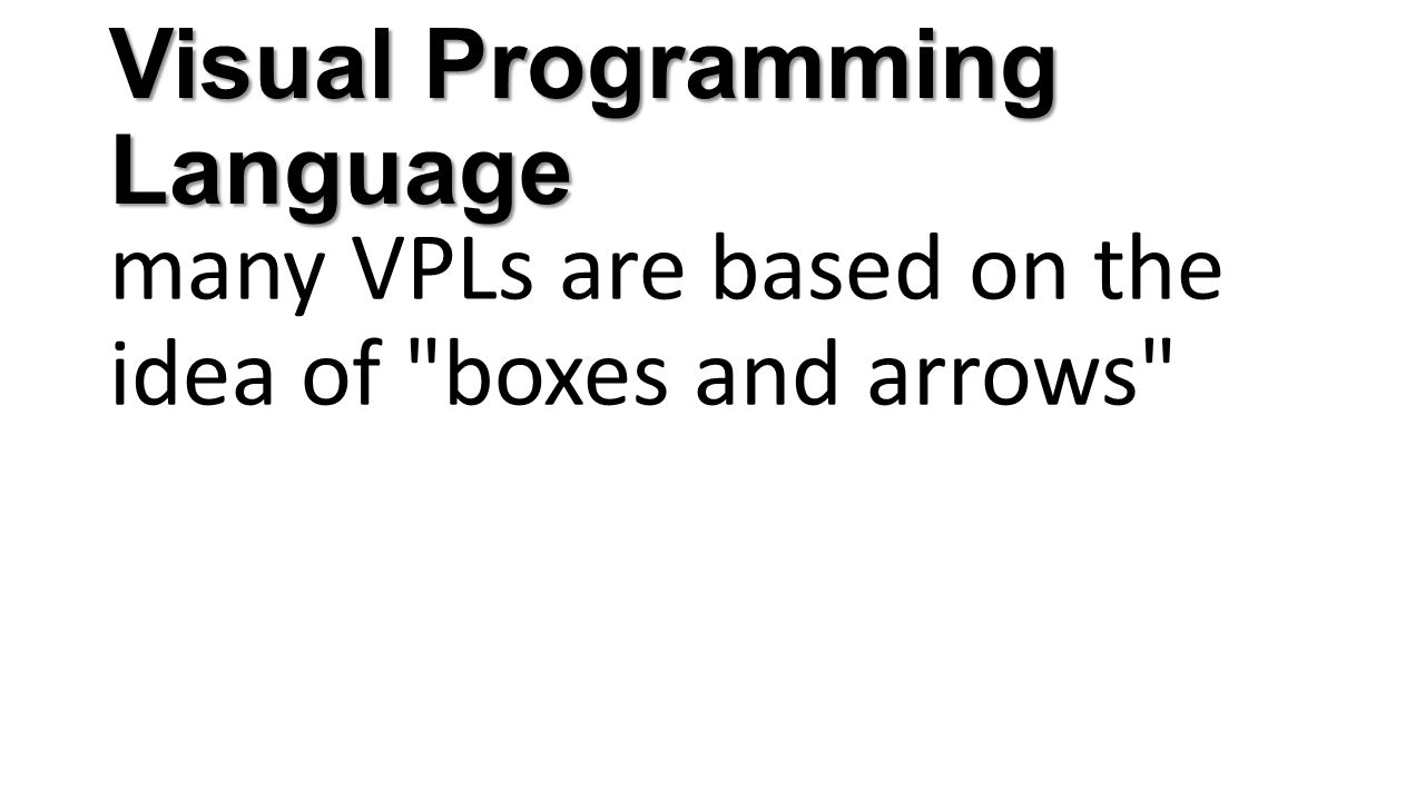 Visual Programming Language many VPLs are based on the idea of