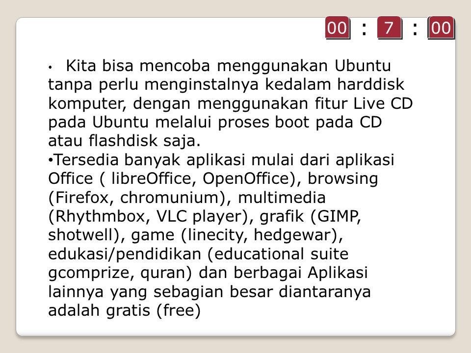 Kita bisa mencoba menggunakan Ubuntu tanpa perlu menginstalnya kedalam harddisk komputer, dengan menggunakan fitur Live CD pada Ubuntu melalui proses boot pada CD atau flashdisk saja.