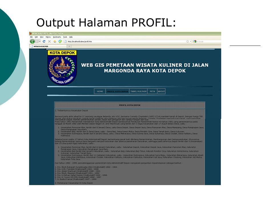 Output Halaman PROFIL: