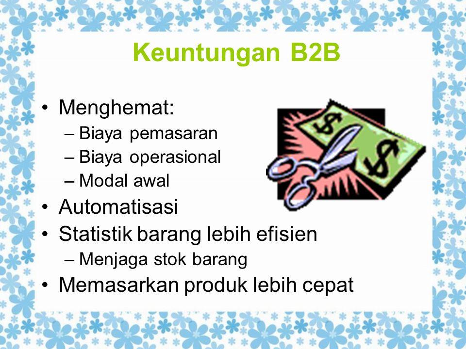 Keuntungan B2B Menghemat: –Biaya pemasaran –Biaya operasional –Modal awal Automatisasi Statistik barang lebih efisien –Menjaga stok barang Memasarkan