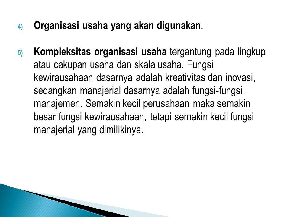 4) Organisasi usaha yang akan digunakan. 5) Kompleksitas organisasi usaha tergantung pada lingkup atau cakupan usaha dan skala usaha. Fungsi kewirausa