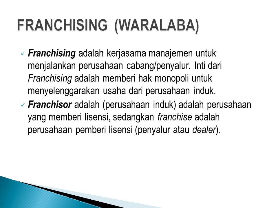 Franchising adalah kerjasama manajemen untuk menjalankan perusahaan cabang/penyalur. Inti dari Franchising adalah memberi hak monopoli untuk menyeleng