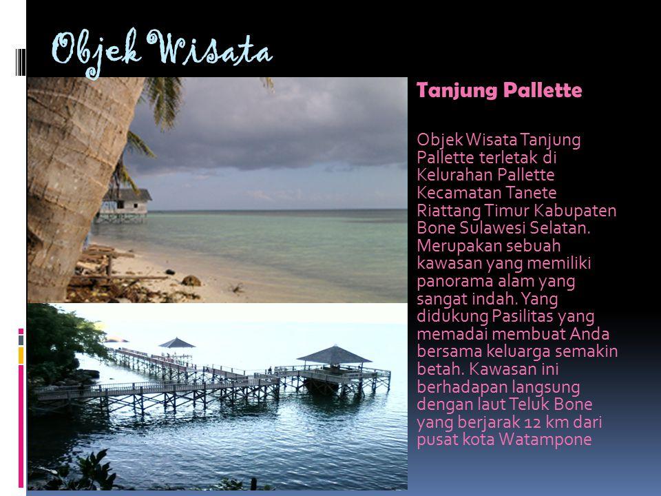 Objek Wisata Tanjung Pallette Objek Wisata Tanjung Pallette terletak di Kelurahan Pallette Kecamatan Tanete Riattang Timur Kabupaten Bone Sulawesi Selatan.