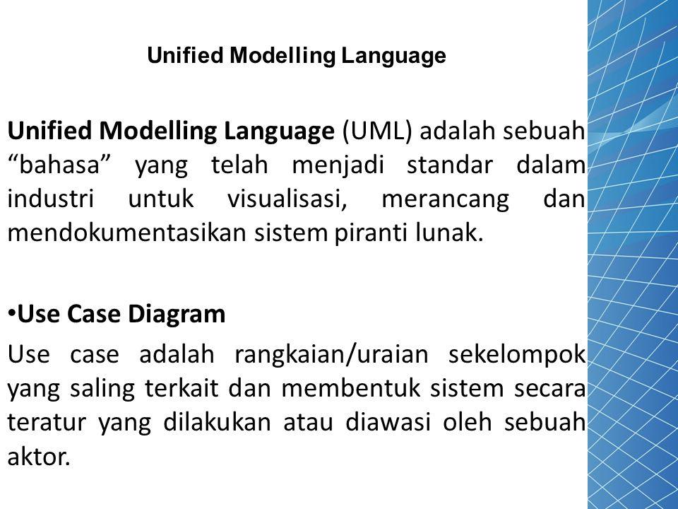 """Unified Modelling Language Unified Modelling Language (UML) adalah sebuah """"bahasa"""" yang telah menjadi standar dalam industri untuk visualisasi, meranc"""