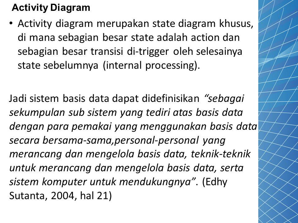 Activity Diagram Activity diagram merupakan state diagram khusus, di mana sebagian besar state adalah action dan sebagian besar transisi di-trigger ol