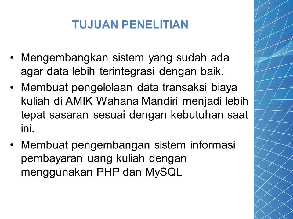 MySQL MySQL (My Strukture Query Language) adalah sebuah program pembuat database yang bersifat open source.
