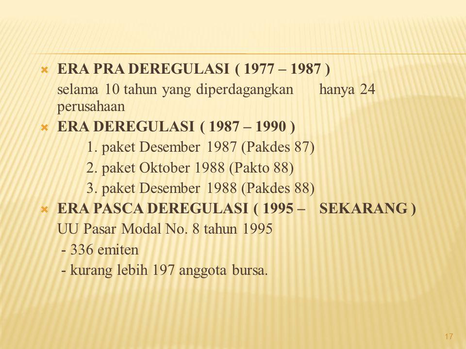  ERA PRA DEREGULASI ( 1977 – 1987 ) selama 10 tahun yang diperdagangkan hanya 24 perusahaan  ERA DEREGULASI ( 1987 – 1990 ) 1. paket Desember 1987 (