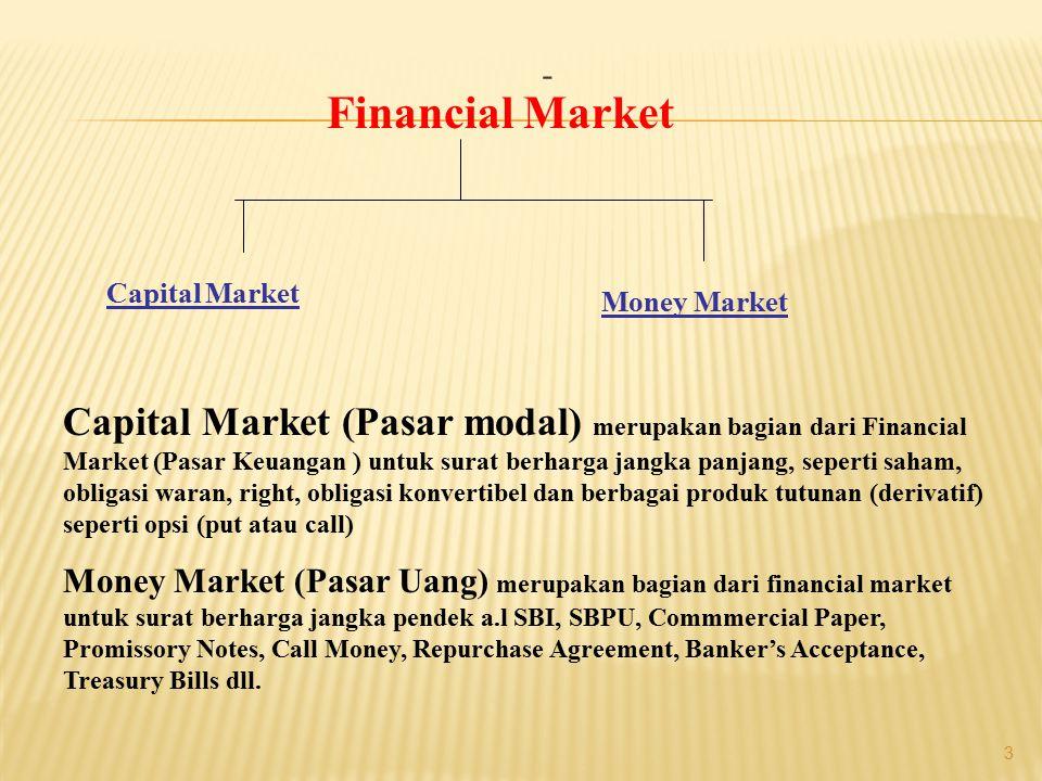 - 3 Financial Market Capital Market Money Market Capital Market (Pasar modal) merupakan bagian dari Financial Market (Pasar Keuangan ) untuk surat ber