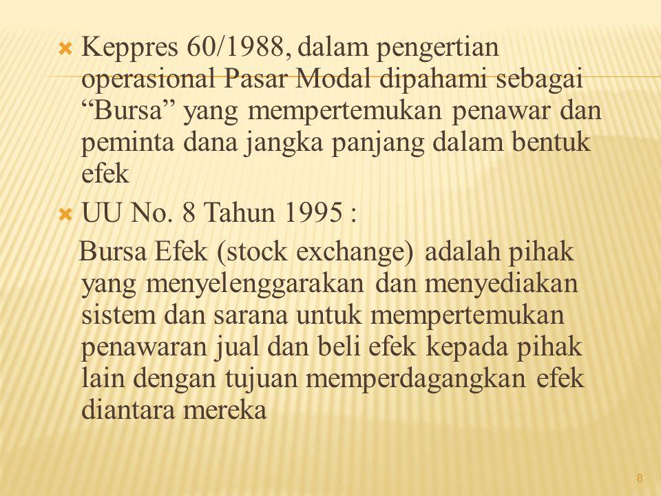  Bursa Efek (stock exchange) adalah suatu sistem yang terorganisir, yang mempertemukan Investor (pembeli/unit surplus) dengan Emiten (penjual/unit defisit) efek yang dilakukan baik secara langsung maupun melalui wakil-wakilnya (dealer, broker)  Fungsi Bursa Efek a.l menjaga kontinuitas pasar dan menciptakan harga efek yang wajar melalui mekanisme permintaan dan penawaran 9