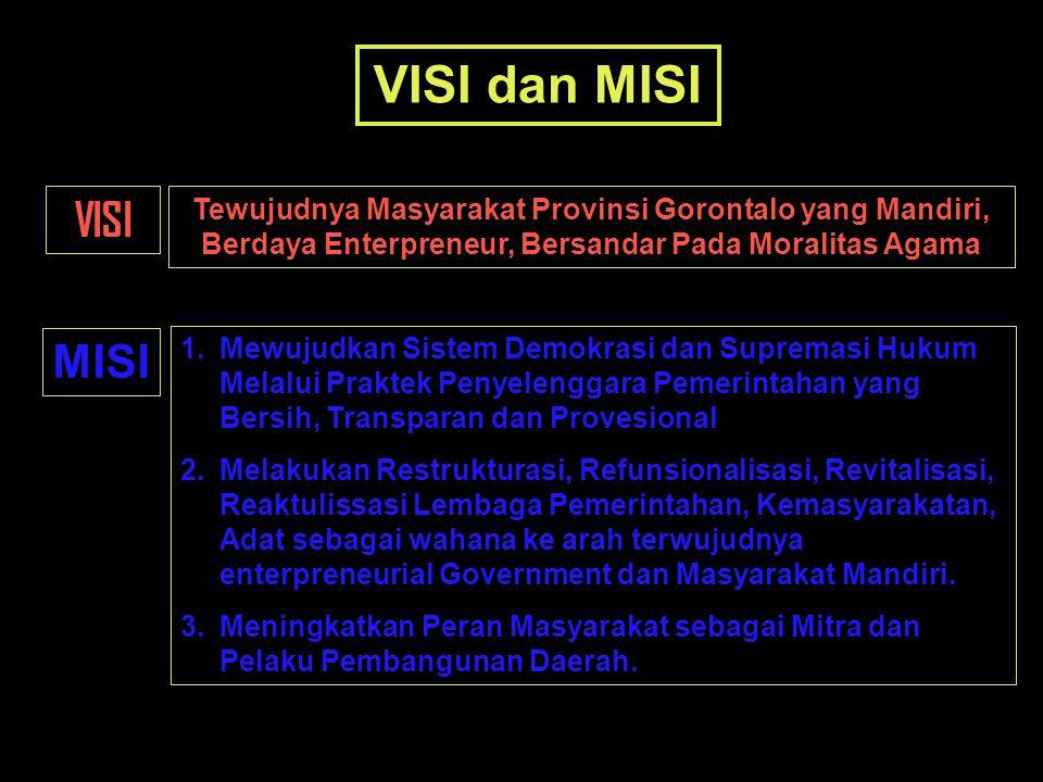VISI dan MISI VISI Tewujudnya Masyarakat Provinsi Gorontalo yang Mandiri, Berdaya Enterpreneur, Bersandar Pada Moralitas Agama MISI 1.Mewujudkan Siste