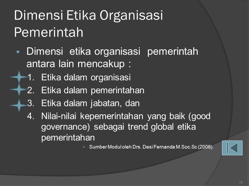  Adapun 3 (tiga) alasan tentang pentingnya etika dalam kehidupan organisasi adalah sbb: 1.Etika memungkinkan organisasi memiliki dan menyepakati nilai- nilai moral sebagai acuan dasar bersikap dan berperilaku dari para anggota organisasi tersebut, di mana nilai-nilai moral yang disepakati bersama harus dijunjung tinggi dan dilaksanakan karena nilai-nilai moral tersebut bertujuan untuk mewujudkan tujuan organisasi; 2.Etika organisasi berisi nilai-nilai yang bersifat universal yang telah disepakati bersama tersebut, dapat menjembatani konflik moral antara para anggota organisasi yang memiliki latar belakang berbeda, di bidang agama, suku, sosial, dan budaya dalam kehidupan organisasi bersangkutan; 3.Etika yang dilaksanakan secara efektif akan meningkatkan citra dan reputasi serta melanggengkan eksistensi organisasi 17 ARTI DAN PENTINGNYA ETIKA DALAM ORGANISASI