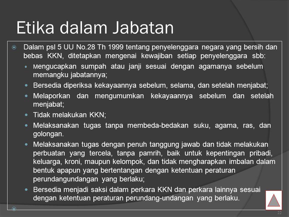 Etika dalam Pemerintahan  Dalam sistem pemerintahan di Indonesia, asas-asas pemerintahan yang menjadi nilai-nilai etika dalam pemerintahan terkandung dalam alinea keempat UUD 1945 yang menyatakan:  …Untuk membentuk pemerintahan negara yang melindungi segenap bangsa dan tumpah darah Indonesia, memajukan kesejahteraan umum, mencerdaskan kehidupan bangsa, dan ikut serta dalam memelihara ketertiban dunia berdasarkan kemerdekaan, perdamaian abadi, dan keadilan sosial. …Sedangkan nilai-nilai filosofis yang melandasinya adalah ideologi negara Pancasila yaitu (1) Ketuhanan Yang Maha Esa, (2) Kemanusiaan Yang Adil dan Beradab, (3) Persatuan Indonesia, (4) Kerakyatan Yang Dipimpin oleh Hikmah Kebijaksanaan Dalam Permusyawaratan Perwakilan, (5) Keadilan Sosial Bagi Seluruh Rakyat Indonesia.