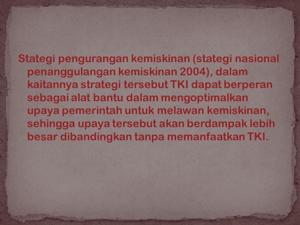 Stategi pengurangan kemiskinan (stategi nasional penanggulangan kemiskinan 2004), dalam kaitannya strategi tersebut TKI dapat berperan sebagai alat bantu dalam mengoptimalkan upaya pemerintah untuk melawan kemiskinan, sehingga upaya tersebut akan berdampak lebih besar dibandingkan tanpa memanfaatkan TKI.