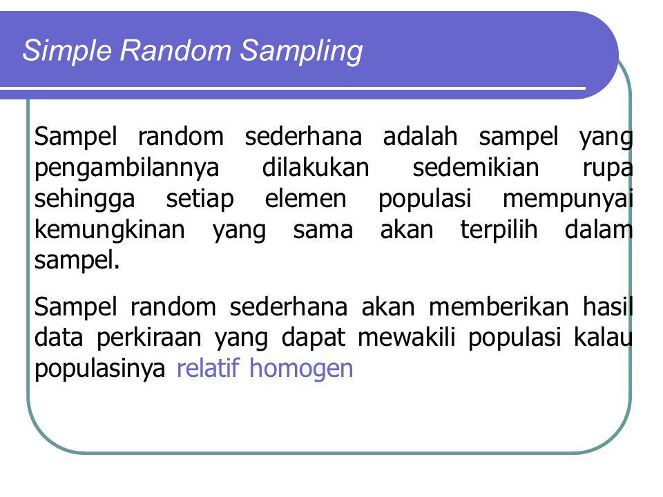 Simple Random Sampling Sampel random sederhana adalah sampel yang pengambilannya dilakukan sedemikian rupa sehingga setiap elemen populasi mempunyai k
