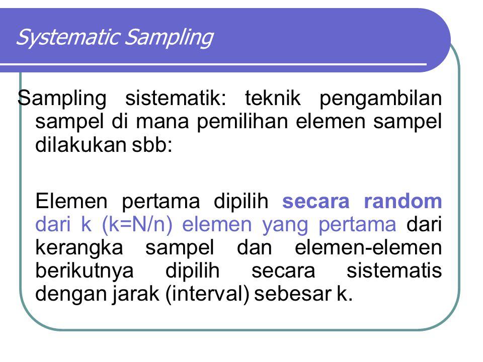 Systematic Sampling Sampling sistematik: teknik pengambilan sampel di mana pemilihan elemen sampel dilakukan sbb: Elemen pertama dipilih secara random