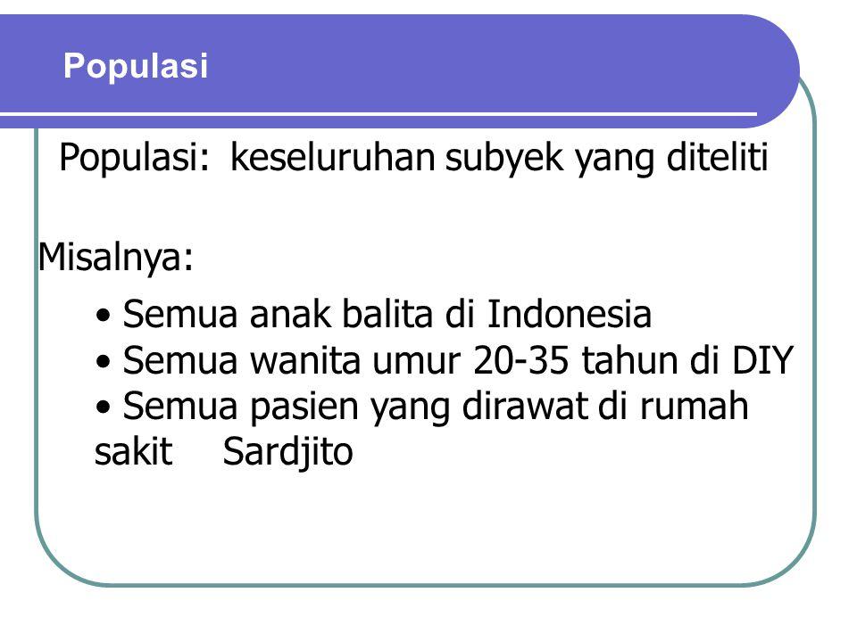Populasi Populasi:keseluruhan subyek yang diteliti Misalnya: Semua anak balita di Indonesia Semua wanita umur 20-35 tahun di DIY Semua pasien yang dir