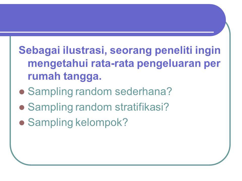 Sebagai ilustrasi, seorang peneliti ingin mengetahui rata-rata pengeluaran per rumah tangga. Sampling random sederhana? Sampling random stratifikasi?