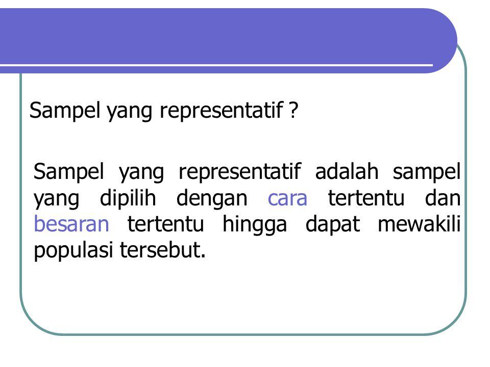 Sampel yang representatif adalah sampel yang dipilih dengan cara tertentu dan besaran tertentu hingga dapat mewakili populasi tersebut. Sampel yang re