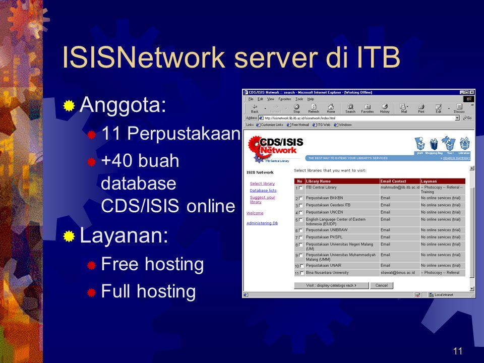 11 ISISNetwork server di ITB  Anggota:  11 Perpustakaan  +40 buah database CDS/ISIS online  Layanan:  Free hosting  Full hosting