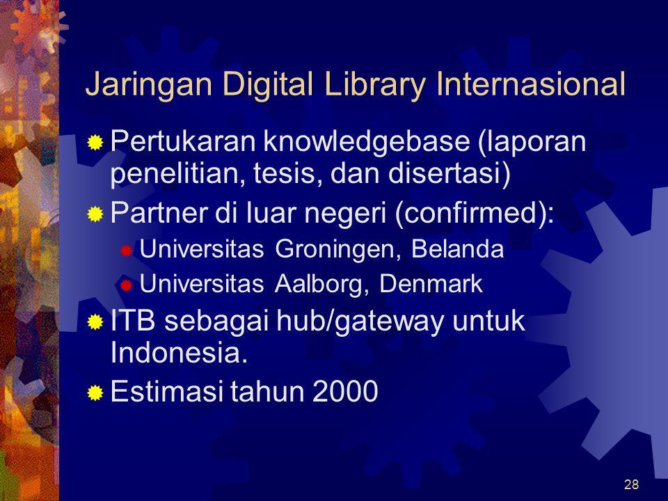 28 Jaringan Digital Library Internasional  Pertukaran knowledgebase (laporan penelitian, tesis, dan disertasi)  Partner di luar negeri (confirmed):