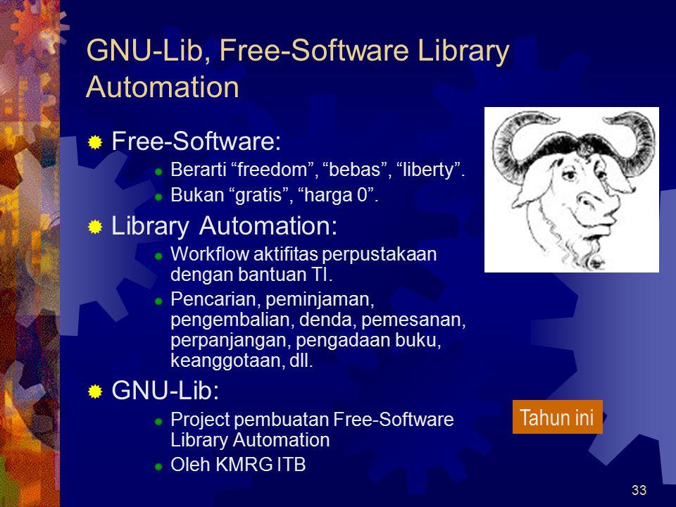 "33 GNU-Lib, Free-Software Library Automation  Free-Software:  Berarti ""freedom"", ""bebas"", ""liberty"".  Bukan ""gratis"", ""harga 0"".  Library Automati"
