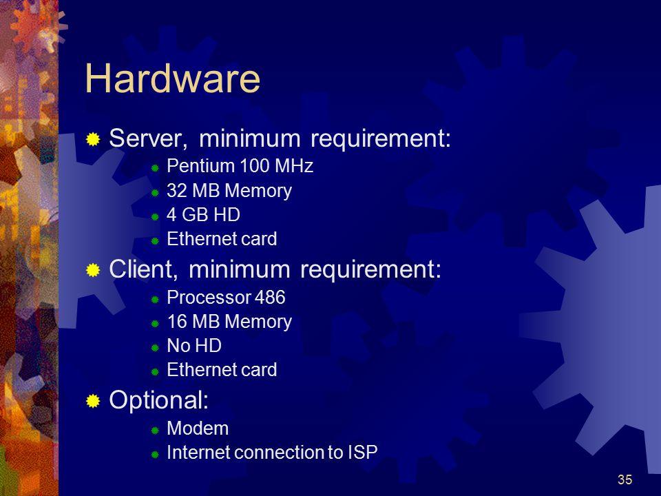 35 Hardware  Server, minimum requirement:  Pentium 100 MHz  32 MB Memory  4 GB HD  Ethernet card  Client, minimum requirement:  Processor 486 
