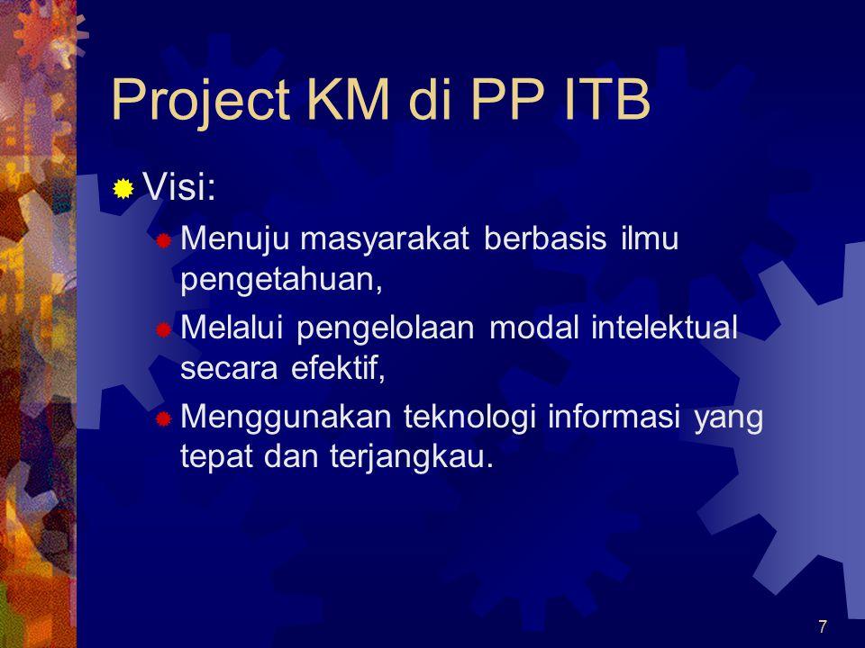 7 Project KM di PP ITB  Visi:  Menuju masyarakat berbasis ilmu pengetahuan,  Melalui pengelolaan modal intelektual secara efektif,  Menggunakan te