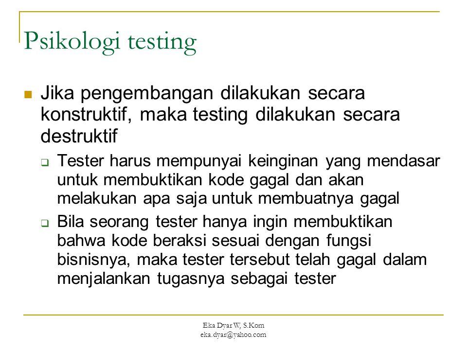 Eka Dyar W, S.Kom eka.dyar@yahoo.com Psikologi testing Jika pengembangan dilakukan secara konstruktif, maka testing dilakukan secara destruktif  Tester harus mempunyai keinginan yang mendasar untuk membuktikan kode gagal dan akan melakukan apa saja untuk membuatnya gagal  Bila seorang tester hanya ingin membuktikan bahwa kode beraksi sesuai dengan fungsi bisnisnya, maka tester tersebut telah gagal dalam menjalankan tugasnya sebagai tester
