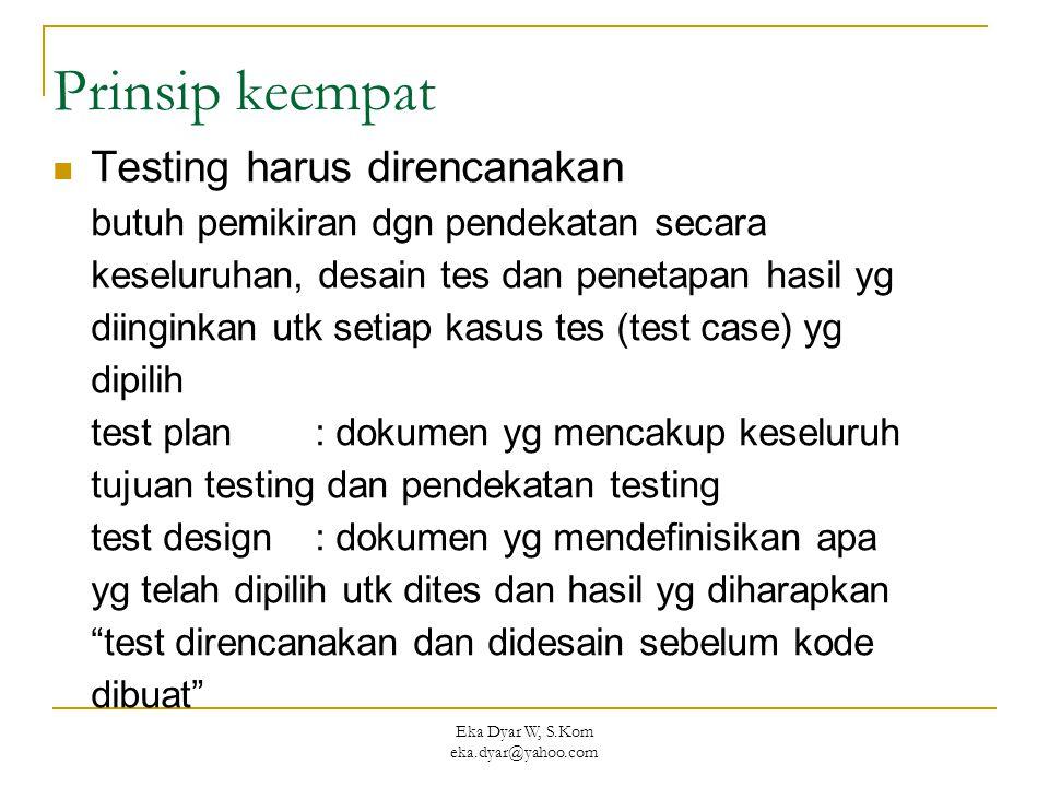 Eka Dyar W, S.Kom eka.dyar@yahoo.com Prinsip keempat Testing harus direncanakan butuh pemikiran dgn pendekatan secara keseluruhan, desain tes dan penetapan hasil yg diinginkan utk setiap kasus tes (test case) yg dipilih test plan : dokumen yg mencakup keseluruh tujuan testing dan pendekatan testing test design : dokumen yg mendefinisikan apa yg telah dipilih utk dites dan hasil yg diharapkan test direncanakan dan didesain sebelum kode dibuat