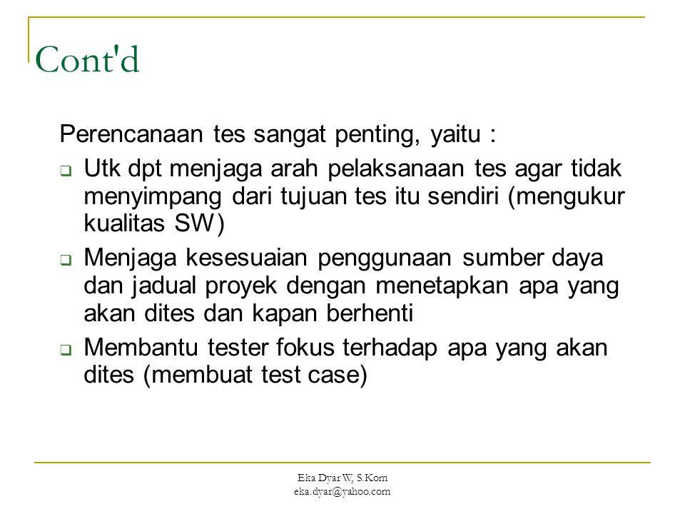 Eka Dyar W, S.Kom eka.dyar@yahoo.com Cont d Perencanaan tes sangat penting, yaitu :  Utk dpt menjaga arah pelaksanaan tes agar tidak menyimpang dari tujuan tes itu sendiri (mengukur kualitas SW)  Menjaga kesesuaian penggunaan sumber daya dan jadual proyek dengan menetapkan apa yang akan dites dan kapan berhenti  Membantu tester fokus terhadap apa yang akan dites (membuat test case)