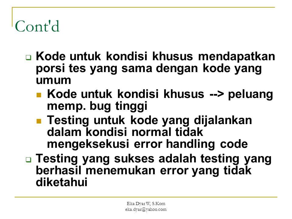 Eka Dyar W, S.Kom eka.dyar@yahoo.com Cont d  Kode untuk kondisi khusus mendapatkan porsi tes yang sama dengan kode yang umum Kode untuk kondisi khusus --> peluang memp.