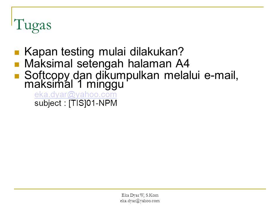 Eka Dyar W, S.Kom eka.dyar@yahoo.com Tugas Kapan testing mulai dilakukan? Maksimal setengah halaman A4 Softcopy dan dikumpulkan melalui e-mail, maksim